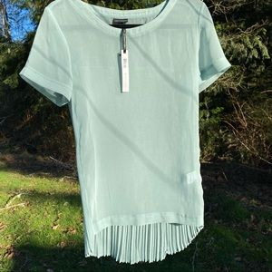 Coco + Carmen Sheer Mint Crimped Blouse S/M NWT